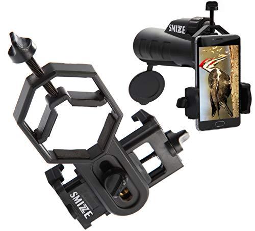 SMiZZE Phone Scope – Universal Smartphone Scope Adapter and Tripod Mount – Premium Telescope Phone Adapter Compatible with Monocular, Binoculars, Microscope, Rifle - 28-47mm Photo Shot