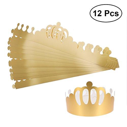 BESTOYARD 12 STÜCKE Geburtstag Party Hüte Goldene Tiara Crown Einstellbare Geburtstag Hut Kappe Party Supplies für Erwachsene Kinder Geburtstag Foto Requisiten