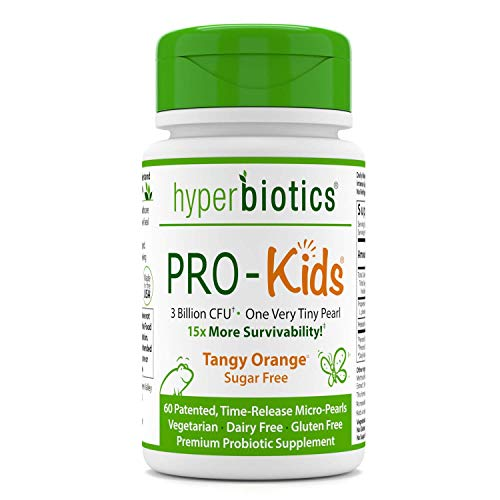 Hyperbiotics PRO-Kids - 60 Tiny Sugar Free Once Daily Time-Release Pearls for Kids Ages 3 and Up - Easy to Swallow and 15x More Survivability than Capsules - Recommended with Vitamins