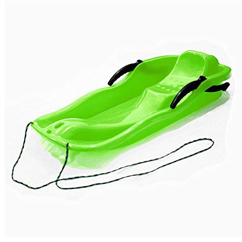 KJGHJ Tableros De Esquí De Plástico para Deportes Al Aire Libre LUGE Snow Hierba Sonda Tablero Ski Pad Snowboard Snowboard con Cuerda Espesar Skis Plastic Snow Sled (Color : Green)
