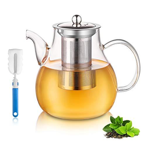 Glas Teekanne 1500ml, Teekanne Glas mit 18/8 Edelstahl Teesieb Hitzebeständig Borosilicate Glas Teebereiter für schwarzen Tee grüner Tee Fruchttee duftender Tee und Teebeutel - Spülmaschinenfest