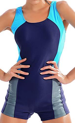 FITTOO Tankini Femme Grande Taille Maillot de Bain 1 Pièce Athlétique Formation Piscine, Bleu Foncé et Gris, M
