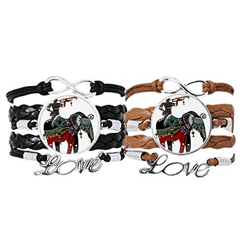 DIYthinker Elefant Trekking China Minority Dressing Armband Handschlaufe Leder Seil Armband Doppelset Geschenk