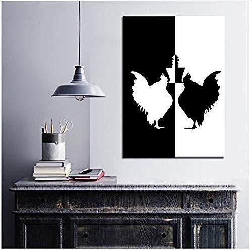 Canvas print,Home Decor Dieren Kip Schaakposters Nordic Gedrukt Schilderij Modulaire foto's Woonkamer Modern-50x80cm