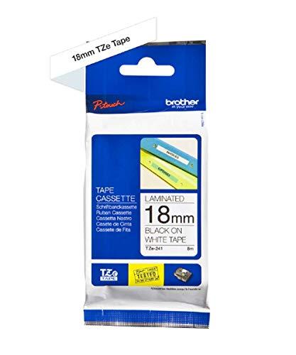 Brother Original P-touch Schriftband TZe-241 18 mm, schwarz auf weiß (kompatibel mit Brother P-touch 1830/VP, -D400/VP, -D450, -D600/VP, -P700, -2430)