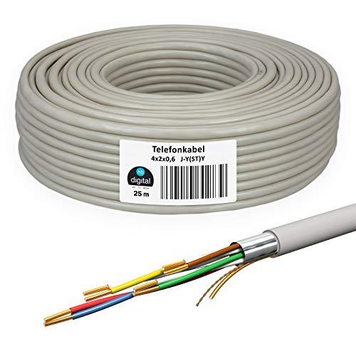 HB-DIGITAL 25 m de cable telefónico 4 x 2 x 0,6 J-Y(ST) Y cable de instalación JYSTY 8 cables telefónicos