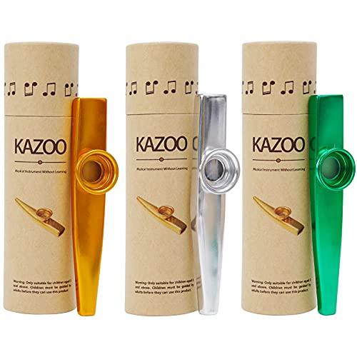 3 Stück Metall Kazoo Lustige Mini Kazoos Mund Musikinstrumente Guter Begleiter für Kinder Musikliebhaber