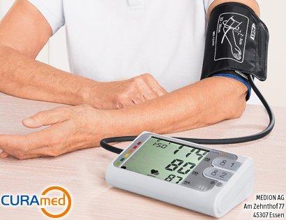 MEDION CURA med Oberarm Blutdruckmessgerät Ampelfunktion 2 x 30 Speicher - B Ware WIE NEU ODER NEU