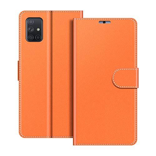 COODIO Handyhülle für Samsung Galaxy A51 Handy Hülle, Samsung Galaxy A51 Hülle Leder Handytasche für Samsung Galaxy A51 Klapphülle Tasche, Orange