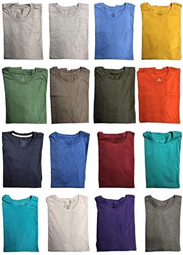 BILLIONHATS 24 Pack Mens Cotton Short Sleeve Lightweight T-Shirts, Bulk Crew Tees for Guys, Mixed Bright Colors Bulk Pack (XX-Large)