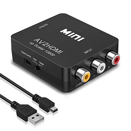 RCA auf HDMI Konverter, Amtake 1080P RCA Composite CVBS AV zu HDMI Video Audio Konverter Adapter für PS2/ Wii/Xbox/SNES/ N64/ VHS/VCR Videorecorder DVD, Unterstützt PAL/NTSC mit USB-Netzkabel