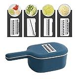 DreamJing - Juego de 4 Cuchillas Intercambiables, Cortador múltiple, rallador de Verduras, con Recipiente colector, Color Azul Oscuro, para Todas Las Verduras
