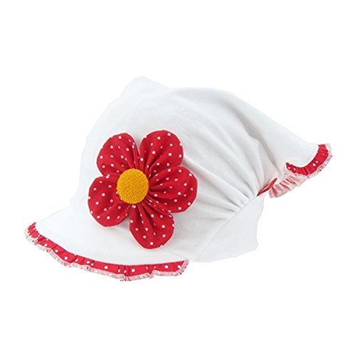 For you Kopftuch Dreiecktuch Mütze Schirmmütze Stirnband für Mädchen Baby Kinder Baumwolle mit Muster-Punktchen Schirmmütze1690 (46-48 cm Kopfumfang + 5 cm dehnbar, Rot/Weiß)