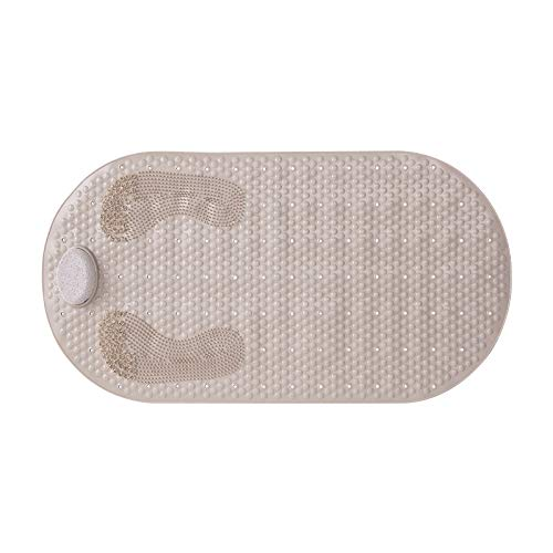 3 in 1 Bath Shower Mat, Pumice Stone Callus Remover, Foot Scrubber Massager, with Anti Skid Suction Cup and Drain Holes, 31.5X15.7inches(Tan)