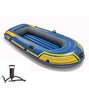 GKJ Kayak Inflable, Kayak Hinchable Canoa.Juego de Kayak Inflable con remos de y Bomba de Aire de Alto Rendimiento 236×114×41CM,Azul
