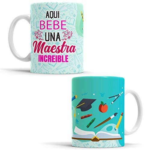 OyC Original y Creativo Taza para Maestra - Taza Aquí Bebe una Maestra increíble - Taza Regalo para Maestra - Taza con Frase y Dibujo (Maestra 2)