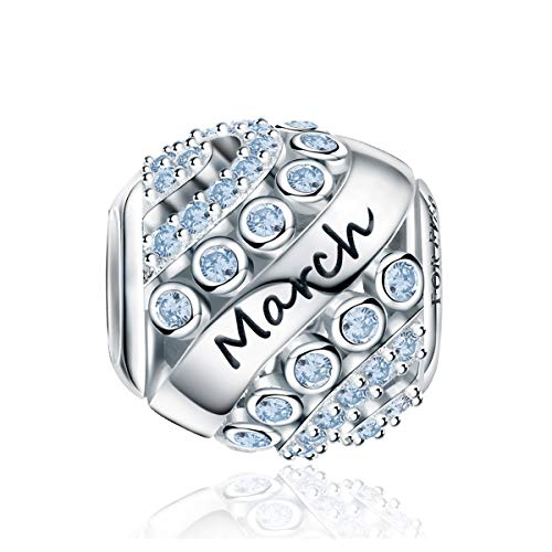 FOREVER QUEEN Women's March Birthstone Charms for Pandora Bracelet 925 Sterling Silver Bead Charms,Birthday Gift With Jewelry Box