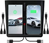 Uniwood Model 3 Wireless Charger,【Upgraded】 10W Wireless Charging Pad with Dual USB Ports,Tesla Model 3 Phone Charger for Qi Enable Smartphone (2 USB Splitter Included)