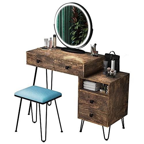 LVSOMT tocador con Espejo LED, tocador cosmético con Espejo Redondo Grande, Armario, cajón, Taburete Acolchado, Muebles de Dormitorio para Mujeres y niñas (marrón)
