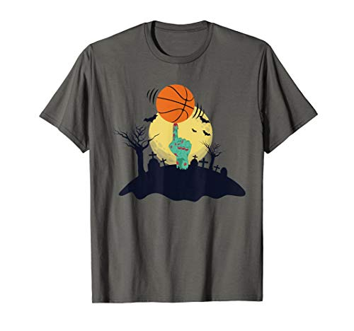 Zombie Hand Spinning Basketball Funny Halloween Costume T-Shirt