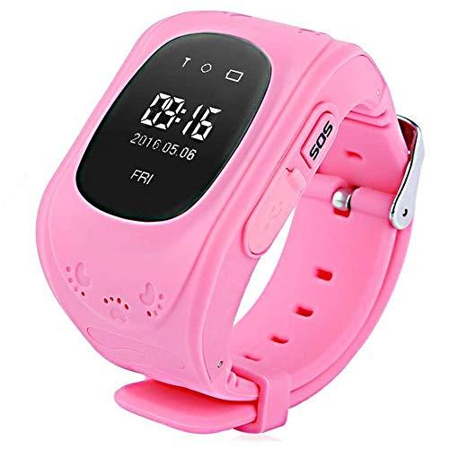 Niños Reloj Inteligente GPS Rastreador Localizador Anti-Lost Seguridad Niños Reloj de Pulsera SOS Llamadas SIM Podómetro Smartwatch Compatible con iPhone y Android Smartphone Q50 (Rosa)
