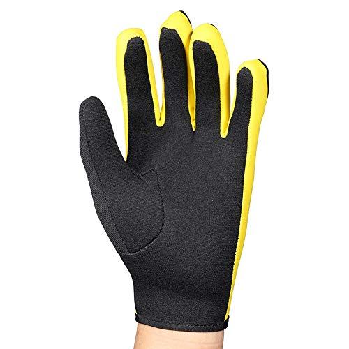 VGEBY1 Guantes de Buceo, 1 par 3 Colores Guantes de Neopreno de Cinco Dedos para Buceo, Snorkel, Kayak, Surf y Todas Las Actividades acuáticas(S-Amarillo Negro)