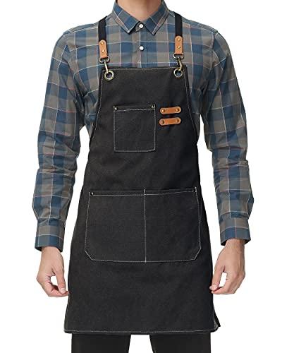 Canvas Kitchen Apron for Men Women Chef Cooking Apron Cross Back 3 Pockets