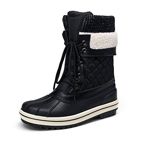 VEPOSE Women's 73 Mid Calf Snow Winter Boots Black Waterproof Boot Wool Foldable(10,Winter Waterproof-973-Black)