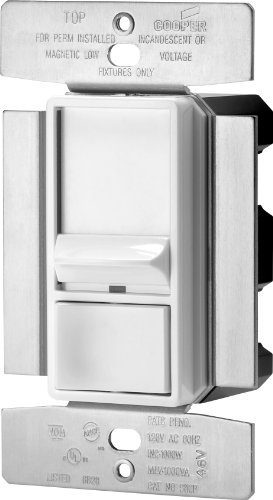 Eaton SI10P-W Skye 3-Way Single-Pole Full Slide Decorator Dimmer with Preset, 1000-watt, White Finish