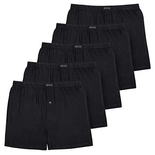ROYALZ 5er Pack Boxershorts für Herren weich Baumwolle Locker American Style Basic Men Unterhosen Weit klassisch Weich 5 Set Männer Unterwäsche, Farbe:Schwarz, Größe:L