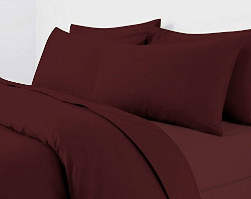 Starhomeware Plain Duvet Cover Set with Pillow Case Quilt Cover Bed Set in Sizes Single Double King Super King (Double, Burgundy)