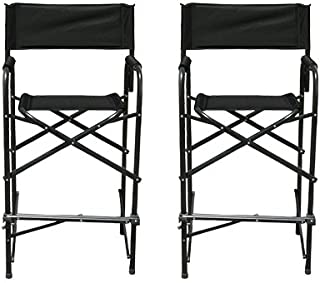 Impact Canopy Tall Folding Director's Chair, Heavy Duty, Set of 2 Chairs, Black