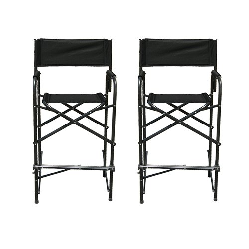 Impact Canopy 284009002-VC Tall Director's Chairs Pack of 2, Black