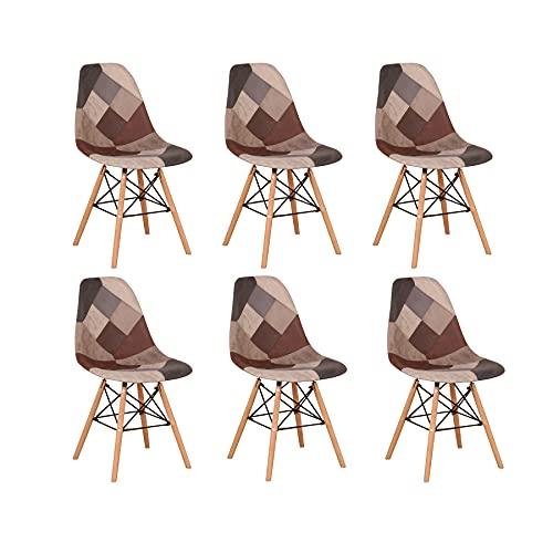 BenyLed Pack 6 Sillas de Comedor de Tela con Patas de Mmadera de Haya, Sillas Patchwork de Estilo Nórdico (Gris-6pcs)