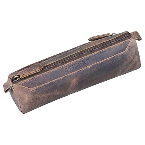 STILORD 'Jim' Estuche o Bolsa para lápices y bolígrafos de Cuero Portatodo Escolar Redondo para Hombres y Mujeres Cartuchera de Piel auténtica, Color:marrón Oscuro