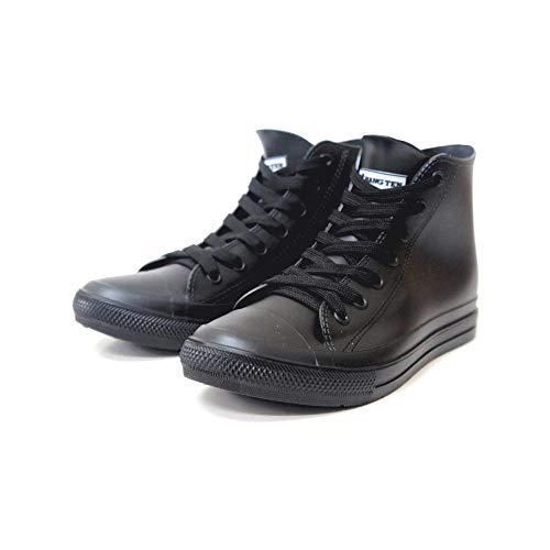 HNG TEN レインシューズ レインスニーカー HIカット ハイカット メンズ ひも 紐 ブラック 黒 ネイビー 雨の日 防水 撥水 長靴 作業靴 男性 紳士 mzhn118(ブラック S(25.5cm))