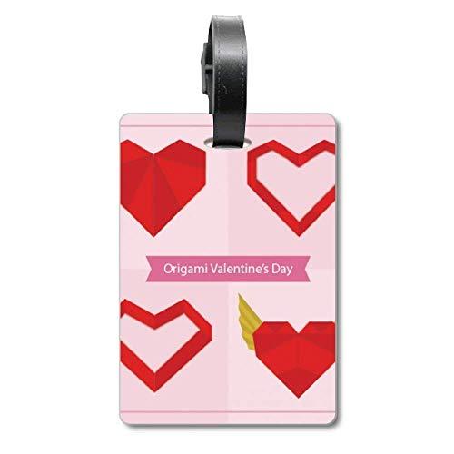 Etiqueta de identificación para Maleta con Texto en inglés Origami Cruise Suitcase, diseño de corazón Abstracto de Navidad, Color Rojo