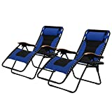 PHI VILLA Oversize XL Padded Zero Gravity Lounge Chairs Adjustable Recliner with Cup Holders Support 350lbs, 2 Pack (Blue)