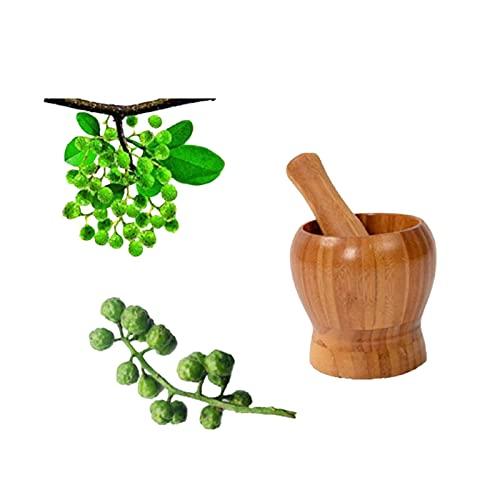Fablcrew 1Pcs Mortier et Pilon en Bois et Bambou Naturel Ustensiles de Cuisine pour Pimenter Gingembre Herbe La Graine Ail