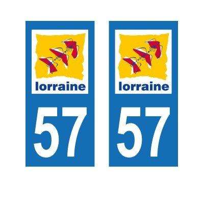 Zone-Stickers 2 Autocollants Plaque Immatriculation 57 Lorraine Moselle - Carrés