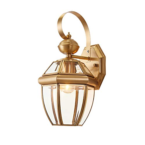 A-ZHP W. Lámpara de Pared, lámpara de Pared Exterior Estadounidense de Cobre Puro Retro País Patio Corredor Rural pórtico Pasillo Yang lámpara de Pared Impermeable [Clase de energía A ++]