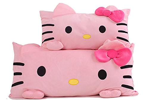 qingbaobao Hello Kitty Single Pillow 60 * 35Cm, Cute Bow Hello Kitty Plush Toys Cushions, Girls