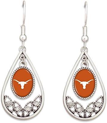 FTH Texas Longhorns Logo Silver Tone Tear Drop Hoop Earrings with Clear Rhinestones product image