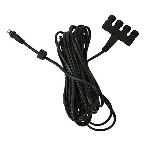 Köhko 12V 4-Fach-Verteiler (IP44) mit 50cm Anschlusskabel für Außenbereich oder Unter Wasser - geeignet für Sringbrunnen Pumpe LED-Beleuchtung Lichterkette 29014