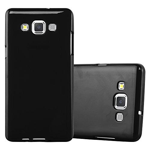 Cadorabo Custodia per Samsung Galaxy A5 2015 in Jelly Nero - Morbida Cover Protettiva Sottile di Silicone TPU con Bordo Protezione - Ultra Slim Case Antiurto Gel Back Bumper Guscio