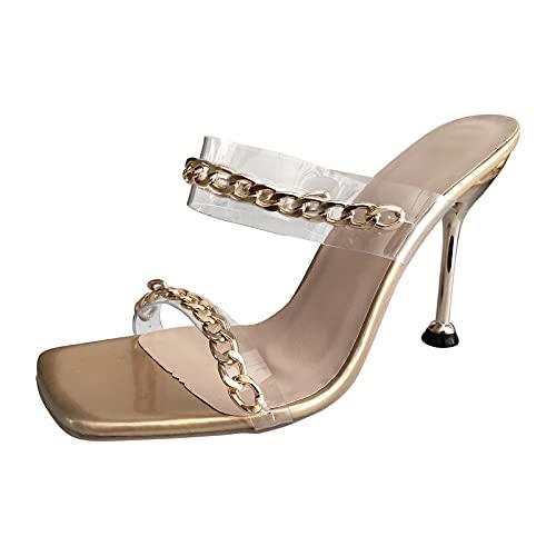 tacónes Transparentes de Aguja Zapatillas Mujer Sandalias de Vestir Elegantes Moda Aire...