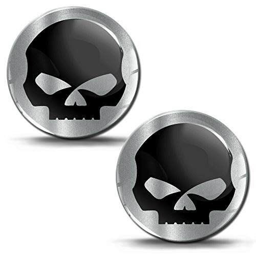 Biomar Labs® 2 x Aufkleber 3D Gel Silikon Skull Schädel Totenkopf Silber Stickers Autoaufkleber Auto Motorrad Fahrrad Fenster Telefon Laptop PC Tablet Tür KS 186