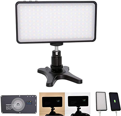 koolehaoda 180 Beads LED on-Camera Video Light Metal Frame with 4500mAH Battery Rechargeable Dimmable Bi-Color 3000-6500K, CRI 96+ with 1/4' Thread for Studio YouTube Video graphing