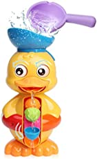 Sitodier Baby Bath Toys for Babies Toddlers Kids 1 2 3 Year Old Boys Girls, Duck Bathtub Toy with Rotatable Waterwheel/Eyes, Strong Suckers, Water Scoop, Fun Toy Gifts for Bathroom