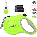 PetiFine Retractable Dog Leash with Dispenser and Poop Bags, 10ft Heavy Duty Reflective Walking Pet Leash for X-Small/Small/Medium/Large Breed Dogs or Cats up to 18 lbs, Tangle-Free(Green,New)